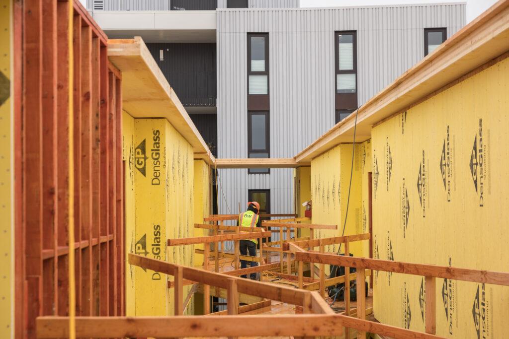 The Canyons RH construction cross laminated timber clt zigzag hallway